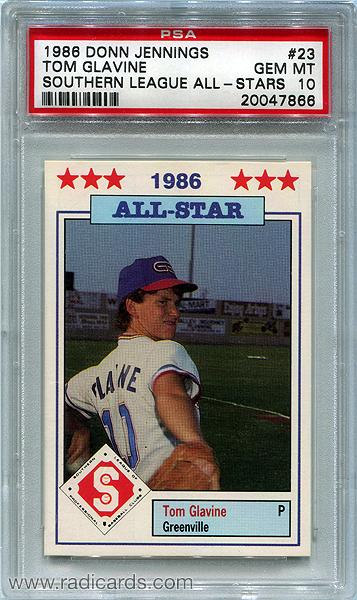 1986-donn-jennings-southern-league-all-stars-23-tom-glavine-psa10