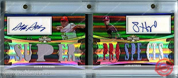Stephen Strasburg/Jason Heyward 2010 Topps Triple Threads Rookie Rising Stars Autograph Relic Pairs #RRARP6 Platinum /1